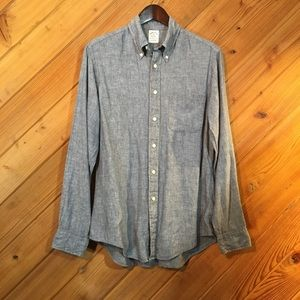 Men's 100% Linen Blue Denim Look Shirt M